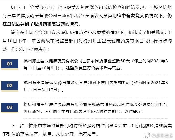 因向发烧人员出售退烧药和感冒药杭州海王星辰健康药房被查